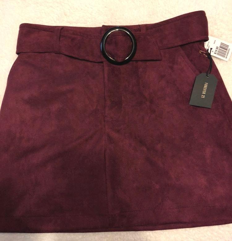 Forever 21 Burgundy Skirt w/ belt