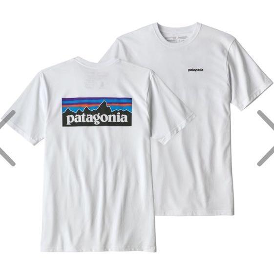 Patagonia White  logo tee
