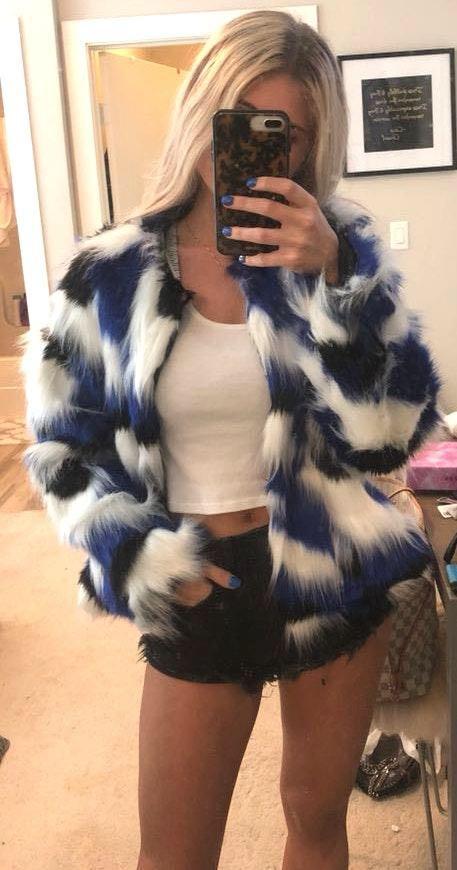 Lanshifei NWT Multicolor Faux Fur Coat