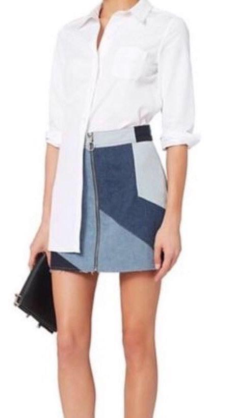 Intermix Denim Mini Skirt