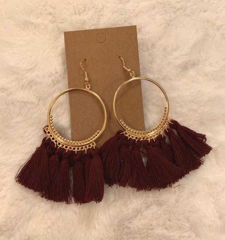 Burgundy Tassel Boho Earrings
