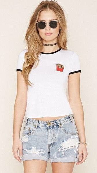 Forever 21 French Fries Crop Top