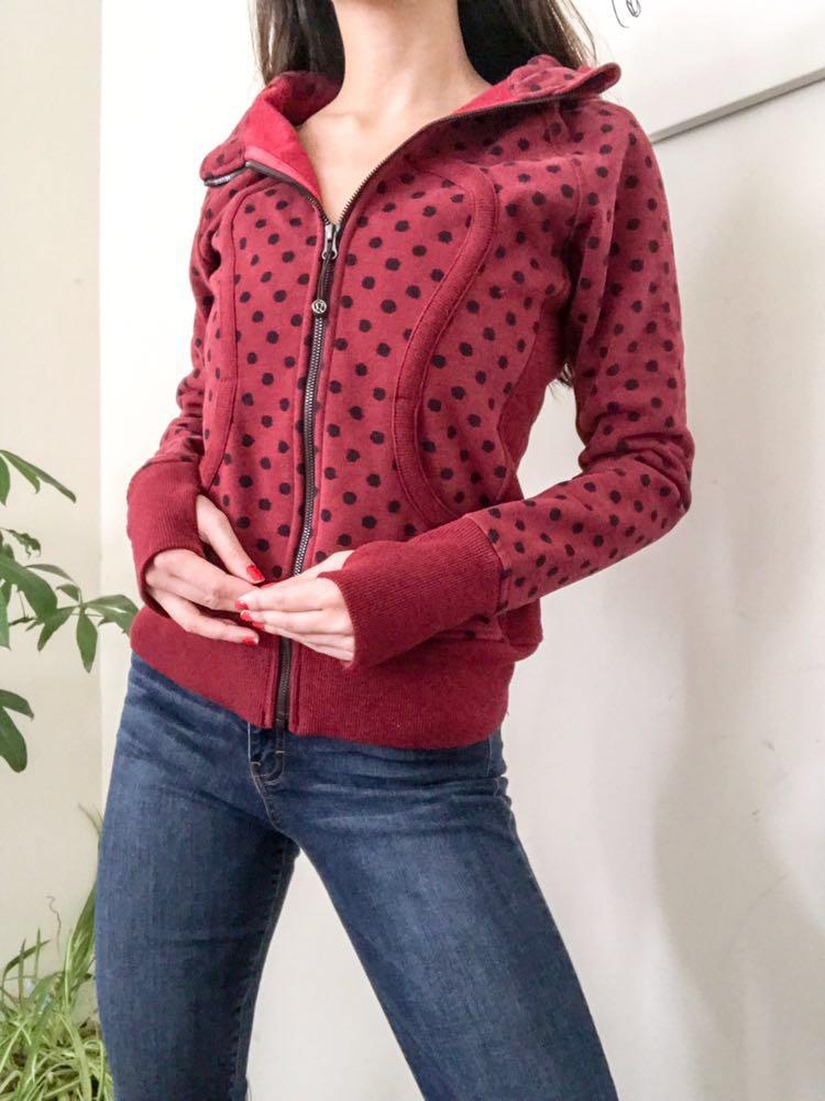 Lululemon Red Polka Dot Scuba Jacket