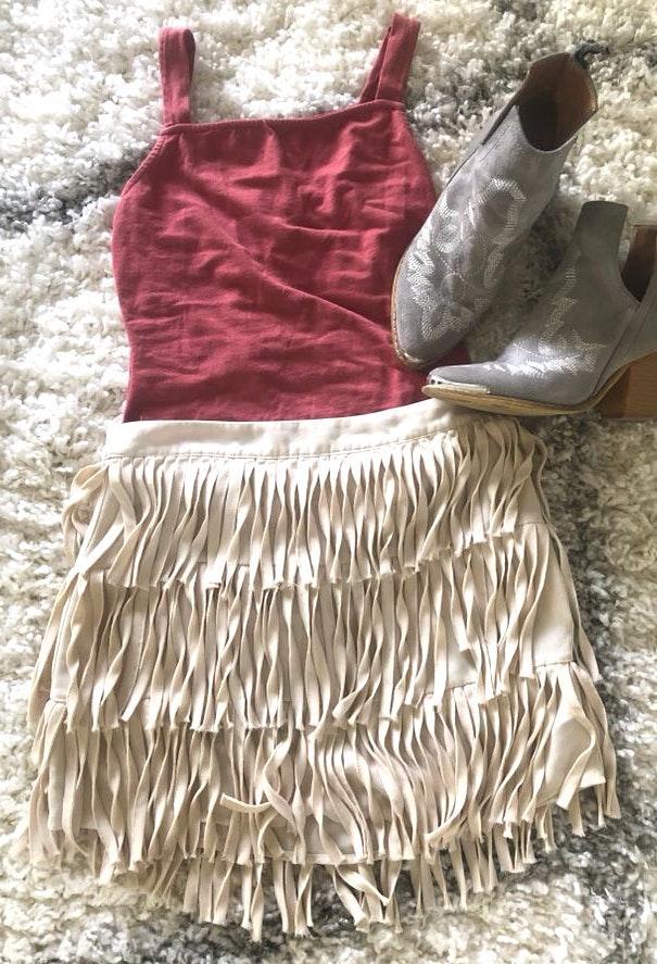 L'ATISTE Fringe Skirt