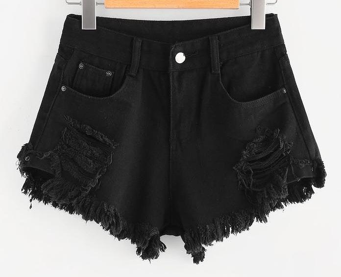 SheIn Black Ripped Denim Shorts
