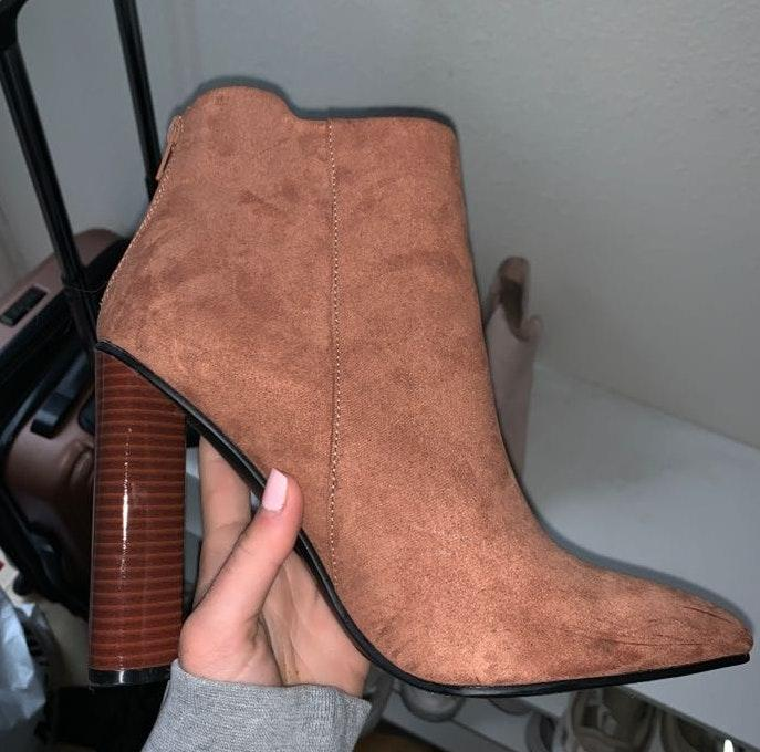 Qupid Brown Suede Booties