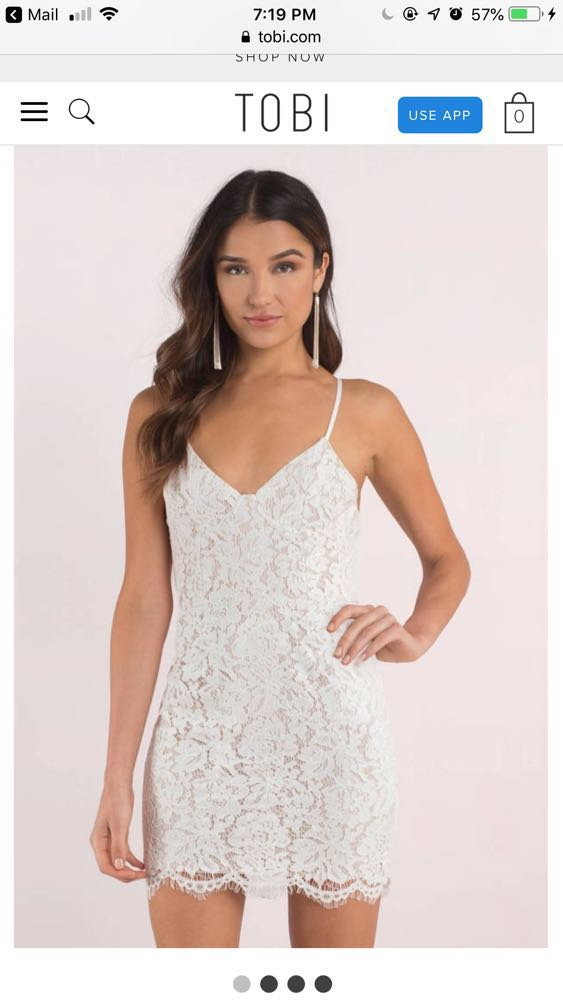 Tobi white lace cocktail dress