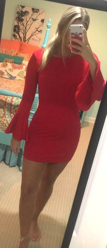 Lulus Red Flare Sleeve Fitted Dress