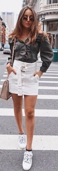 Honey Punch White Denim Skirt