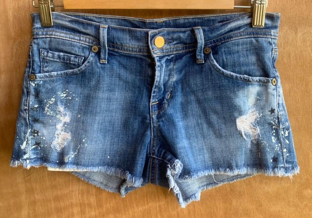 Citizens of Humanity Paint Splatter Patch Jean Shorts