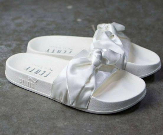 Puma White Fenty Bow Slides