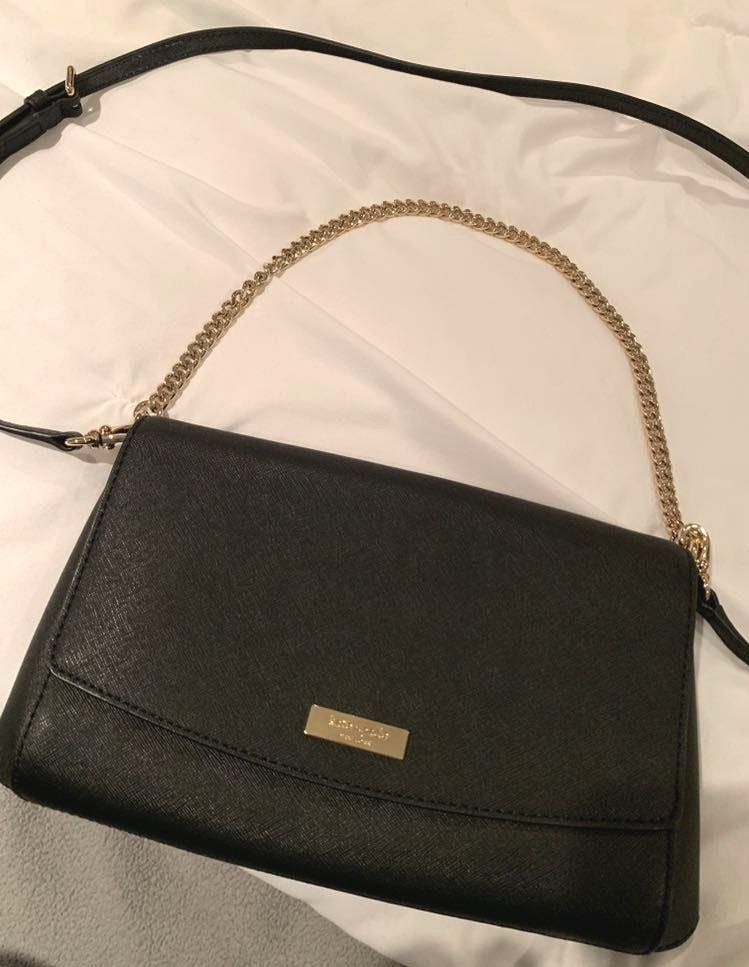 Kate Spade Black Leather Gold Chained Crossbody