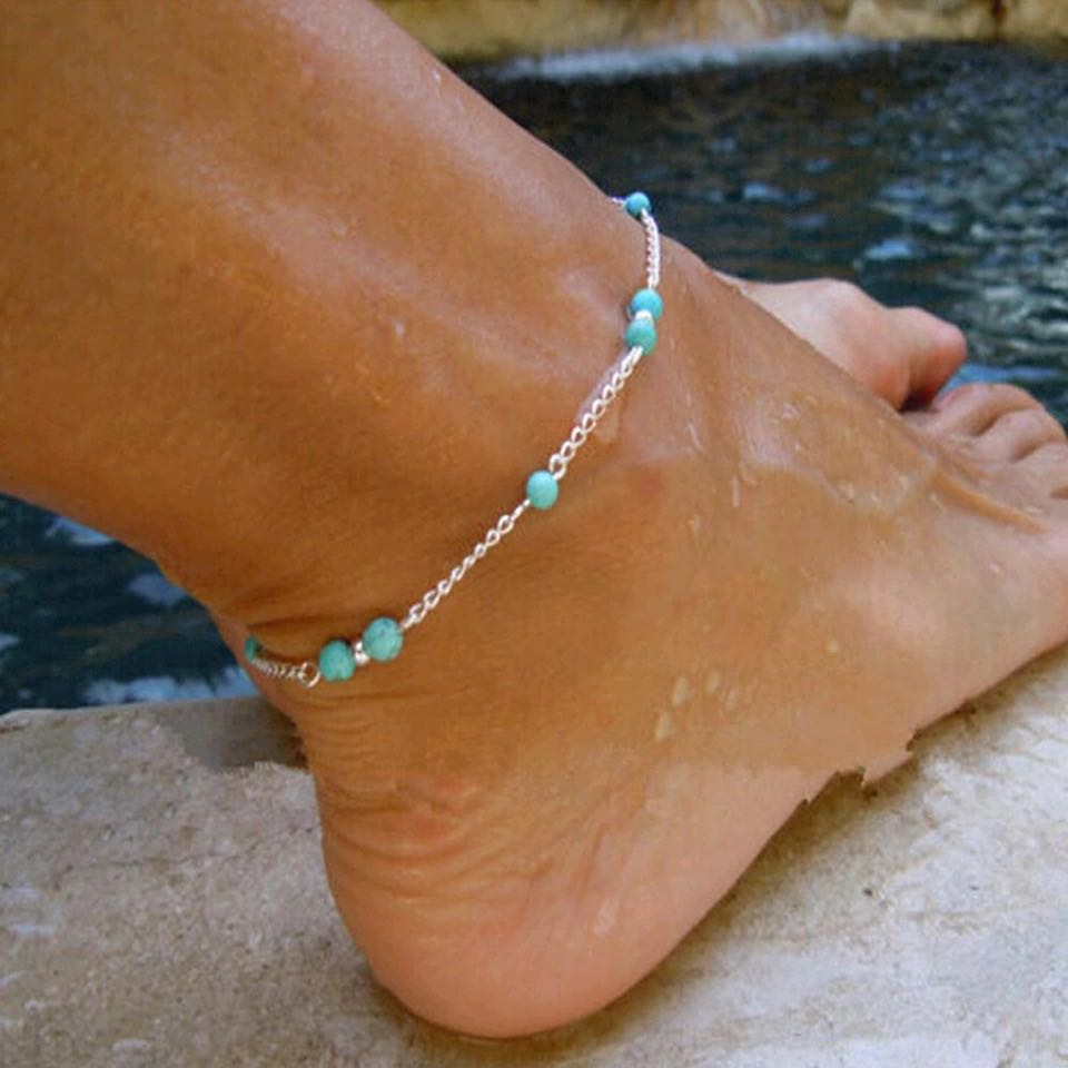 Boutique Beaded Turquoise Chain Silver Anklet... I Have Gold Also!