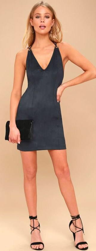 Free People Blue Suede Dress