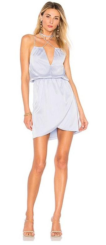 by the way. Kaylee Wrap Neck Dress In Light Blue