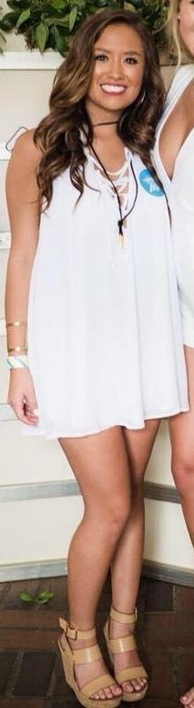 Show Me Your Mumu White Lace-Up Shift Dress