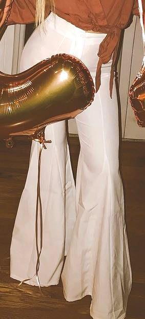 Boohoo White flare pants