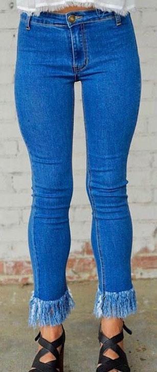 Leap of faith blue fringe skinny jeans