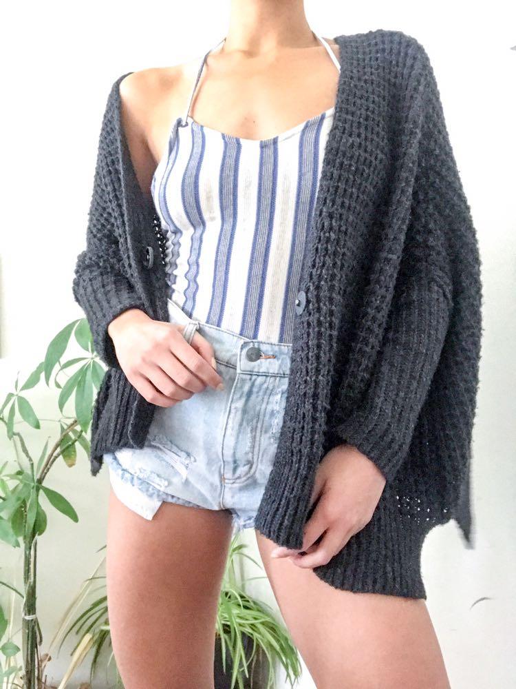 Free People Breeze Gray Chunky Knit Cardigan Sweater