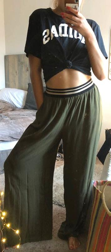 Anthropologie Forest Green Flowy Pants