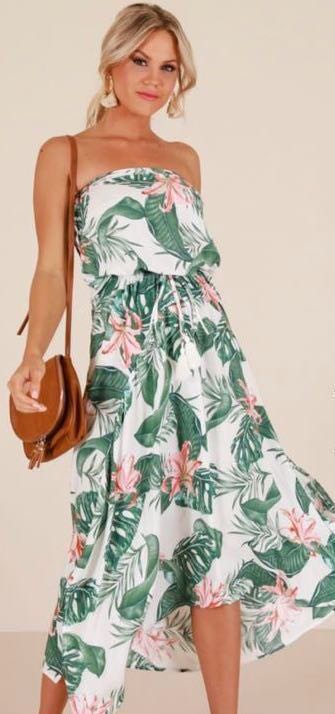 Showpo Tropical Strapless Maxi