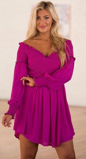 These Three Boutique Magenta Smocked Babydoll Dress