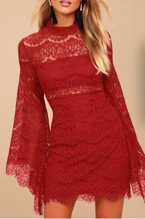Lulus Maroon Lace Dress