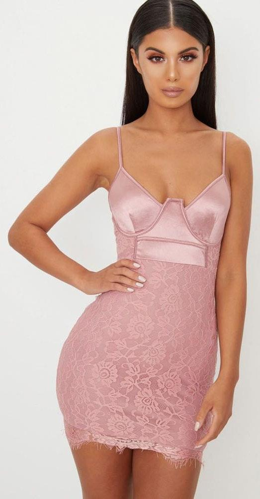 Pretty Little Thing Pink bodycon Lace Dress
