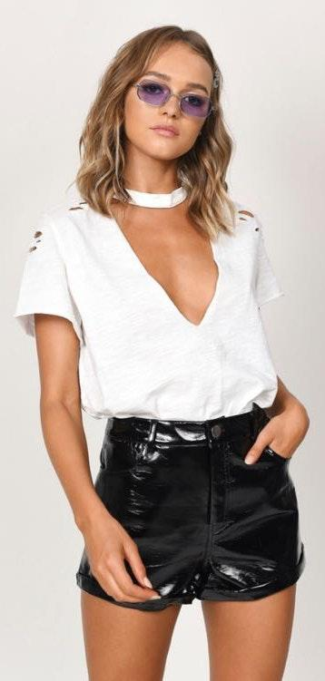 Tobi White Cut Out Tee