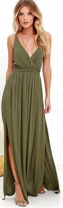 7e209376bb5 Lulus Lost in paradise olive green maxi