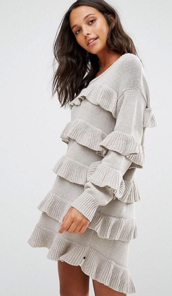 One Teaspoon Eldorado Ruffle Sweater Mini Dress