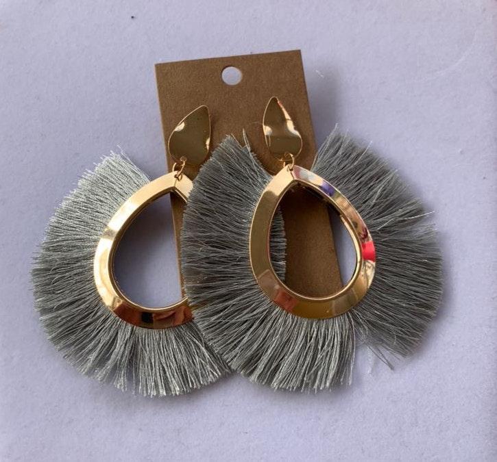 Gray Boho Tassel Earrings