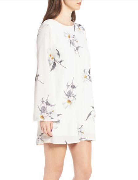 Dee Elly White Ivory Floral Dress