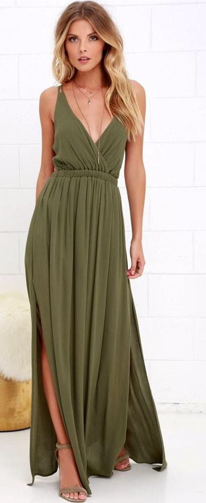 Lulus Olive Green Maxi Dress