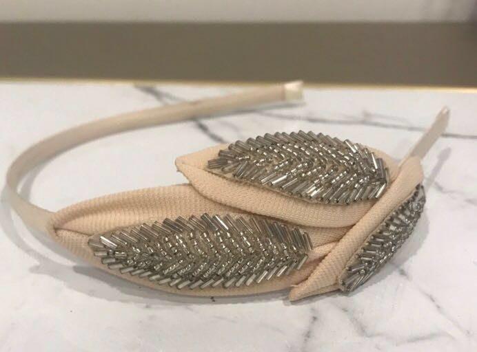 Silver And Cream Leaf Headband