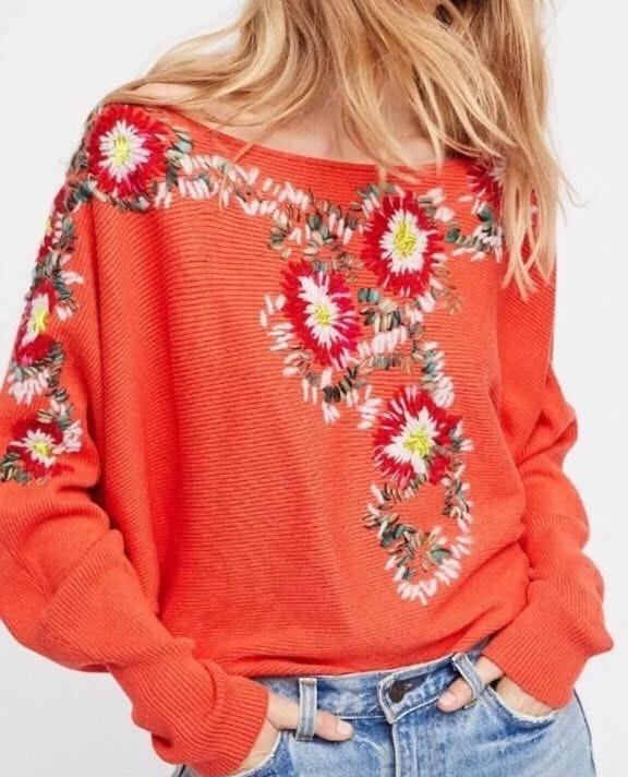 Free People Boho Embroidered Sweater XS