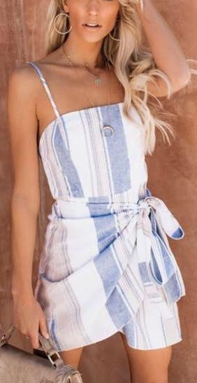 These Three Boutique striped wrapped dress