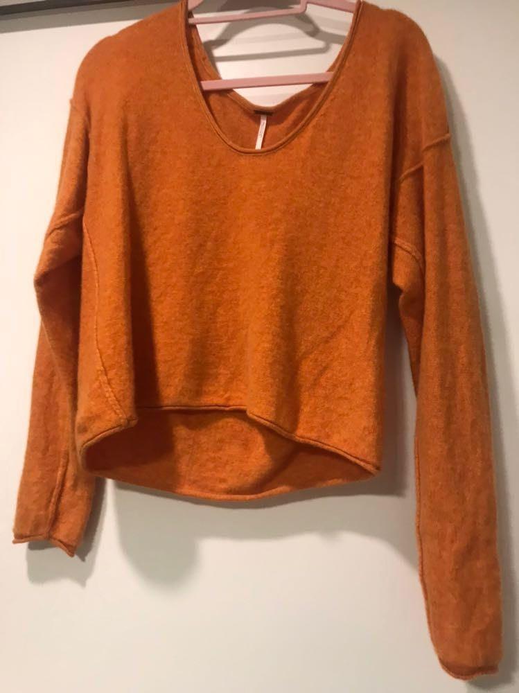 Free People Orange Cropped Sweater