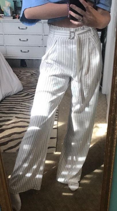 Victoria and Sophia Wide-Leg Striped Pants