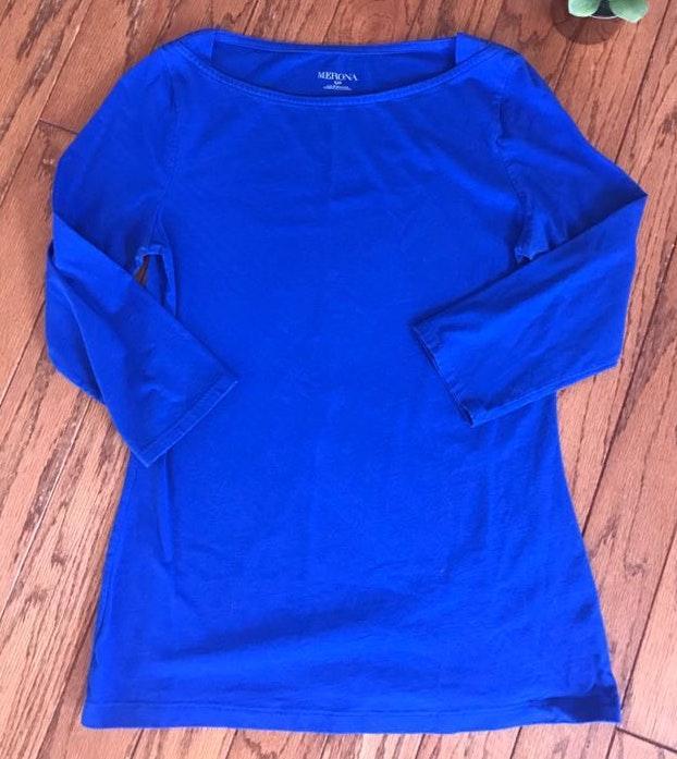 Merona Royal Blue 3/4 Sleeve Top