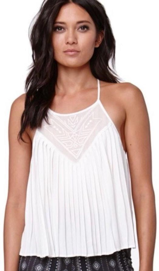 Kendall & Kylie Kendall And Kylie Pleated Tank Sheer Tribal Print