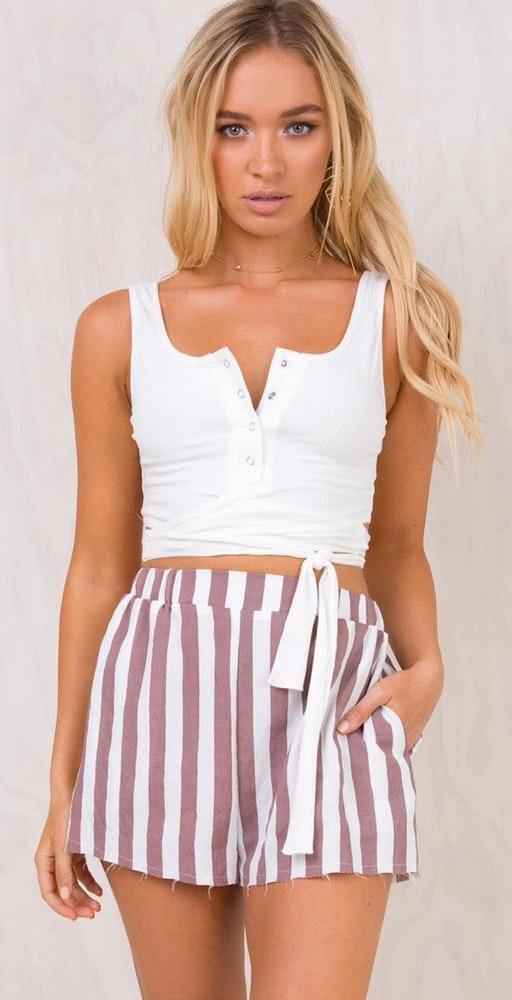 Princess Polly Mauve & White Linen Shorts