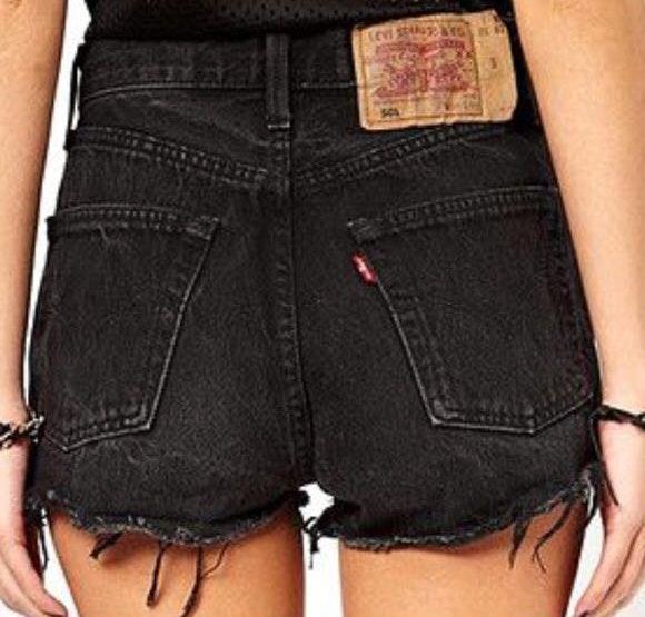 Levi's Black Denim Distressed Shorts