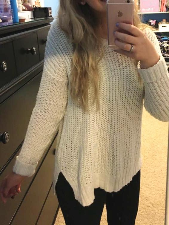 Aerie Cream Boat Neck Sweater