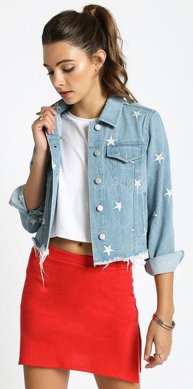 Sans Souci Star Embroidered Denim Jacket
