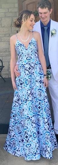 David's Bridal Mosaic Print Deep V Prom Dress