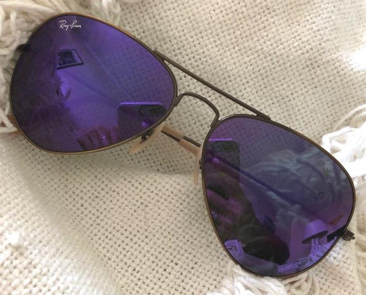 Ray-Ban Purple Reflective Aviator Sunglasses