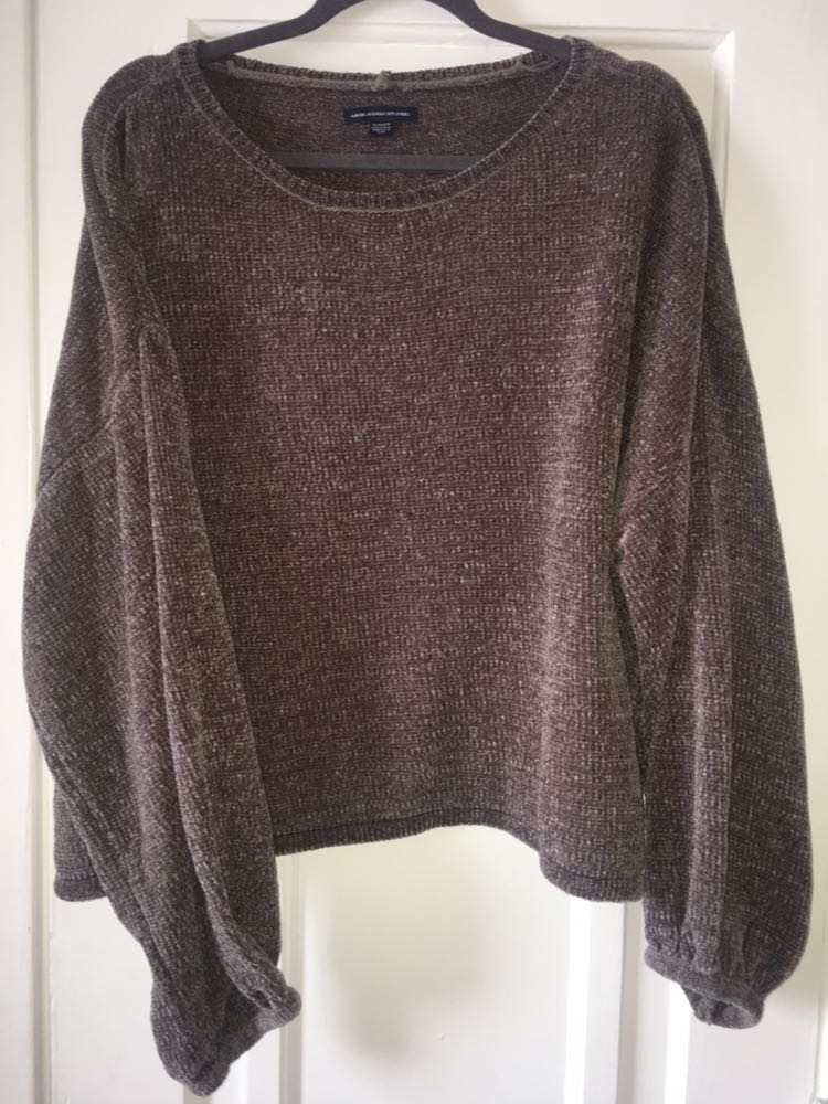 American Eagle Outfitters Chenille Brown Sweater