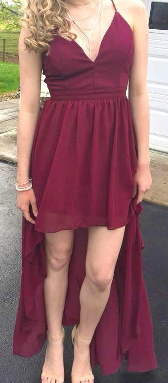 Dillard's Maroon High Low Formal Dress