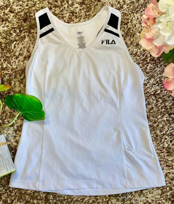FILA Sport White/ Black Workout Tank With Built In Sports Bra